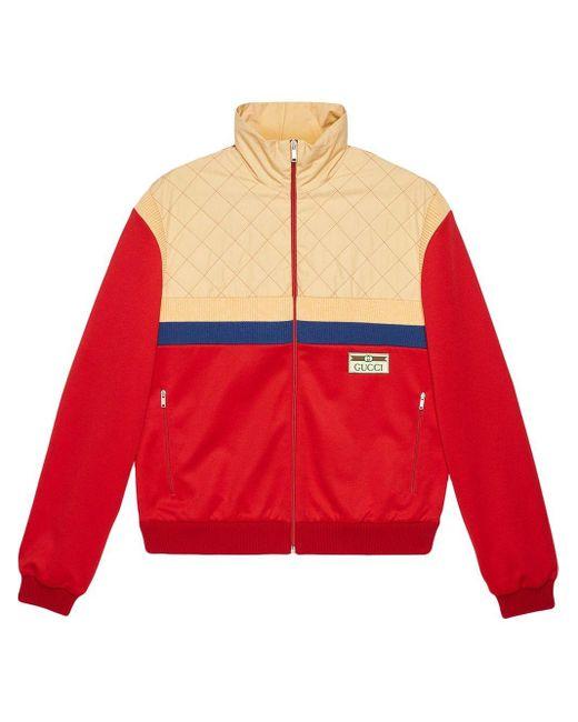メンズ Gucci グッチテクニカルジャージー ジップアップジャケット Red