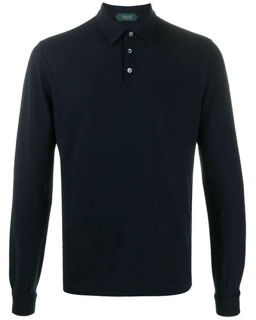 Zanone Blue Long-sleeve Polo Shirt for men