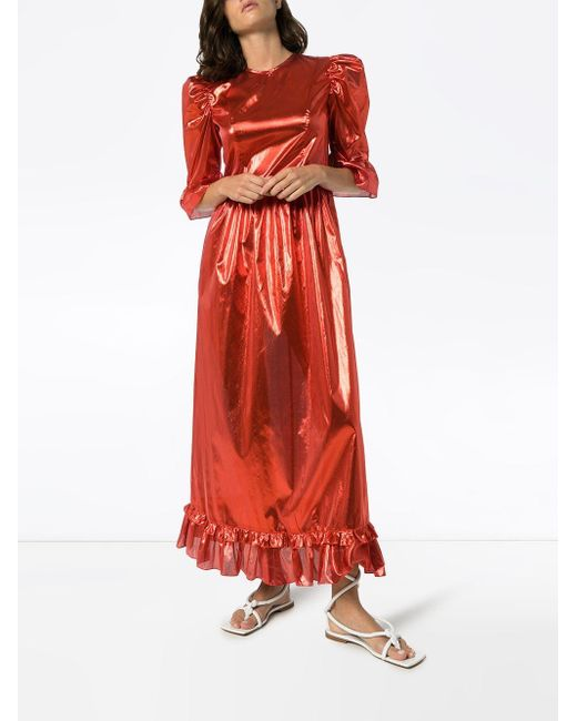 BATSHEVA Prairie メタリック ドレス Red