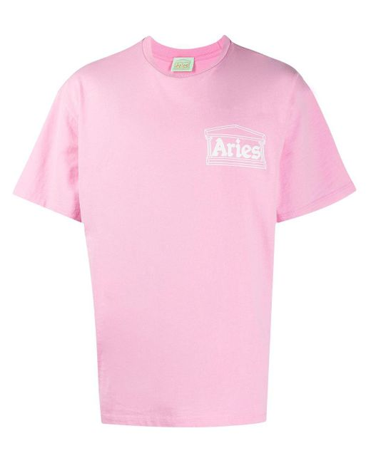 Aries ロゴ Tシャツ Pink