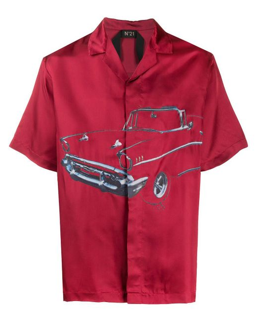 メンズ N°21 プリント シャツ Red