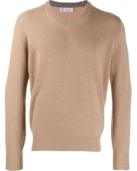 メンズ Brunello Cucinelli カシミア Vネックセーター Multicolor