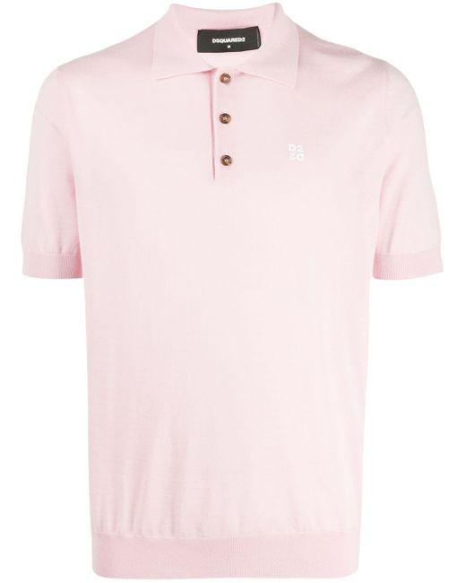 メンズ DSquared² ロゴ ポロシャツ Pink