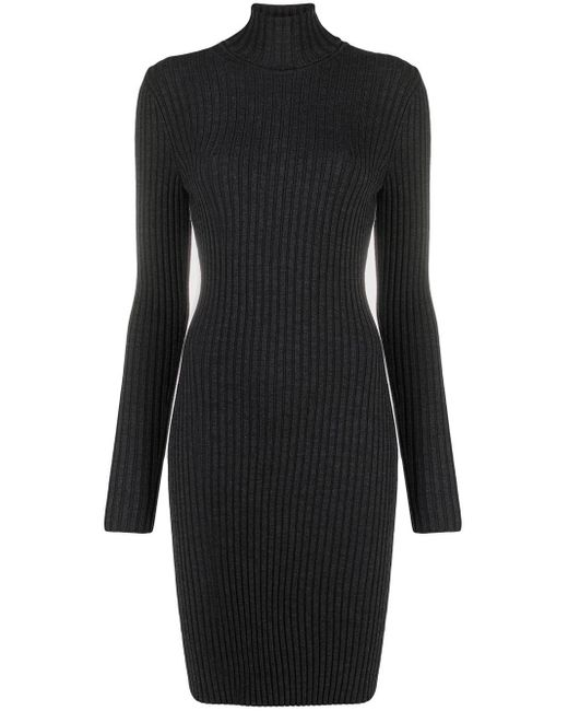Wolford Gray Ribbed Knit Turtleneck Dress