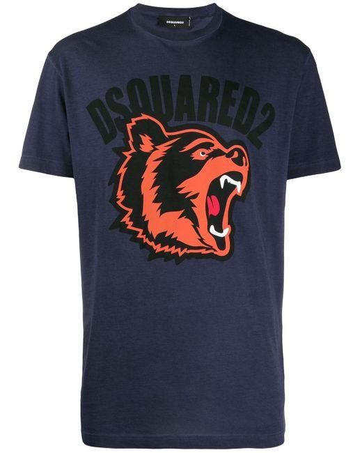メンズ DSquared² ロゴプリント Tシャツ Blue