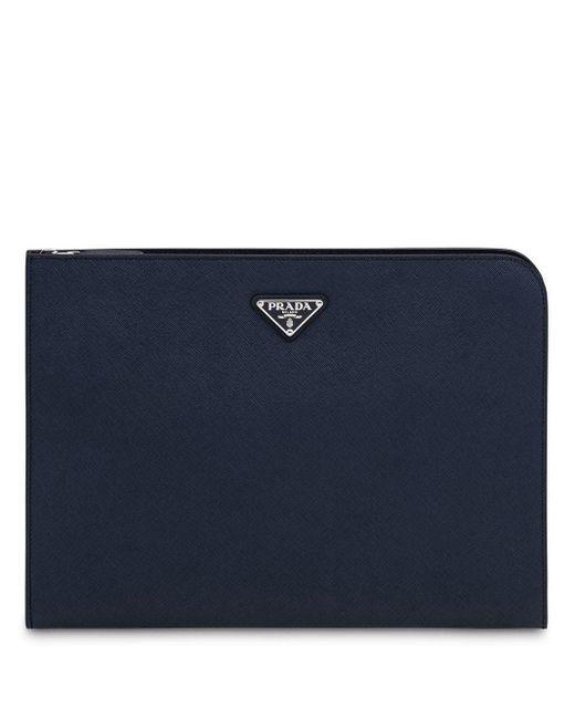 Porte-documents zippé à plaque logo Prada pour homme en coloris Blue