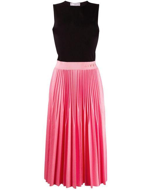 Givenchy ノースリーブ プリーツドレス Pink