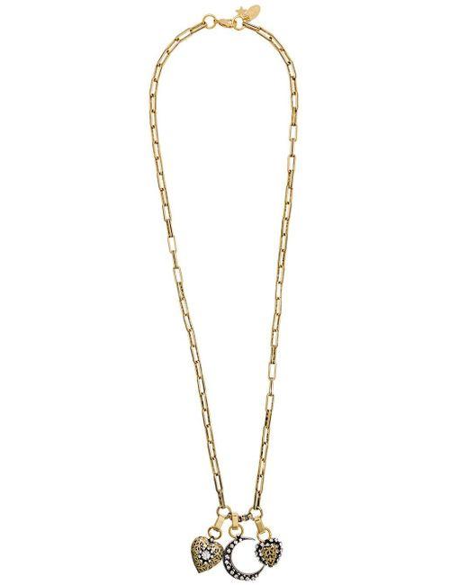 Rada' Metallic Embellished Mixed Pendant Necklace