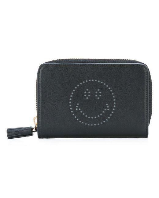 Anya Hindmarch | Black Smiley Zip Around Wallet | Lyst