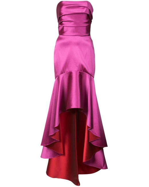Marchesa notte ドレープ イブニングドレス Pink