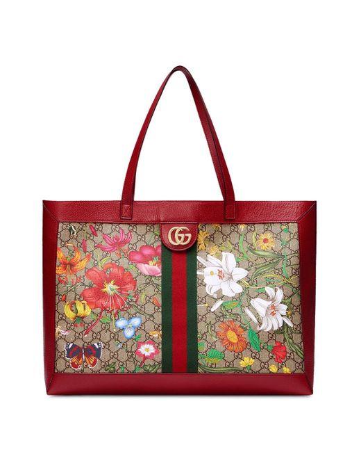Gucci Draagtas Met Bloemenprint in het Red