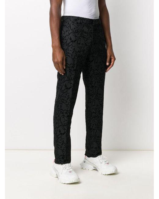 メンズ Moschino パターン スリムパンツ Black