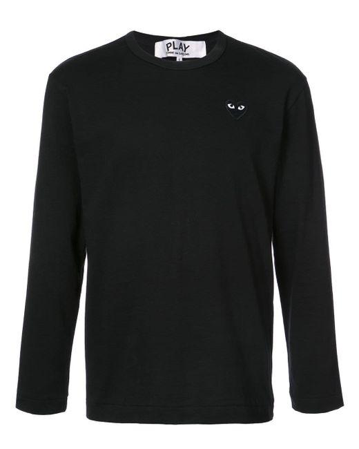 メンズ COMME DES GARÇONS PLAY ハートロゴ ロングtシャツ Black