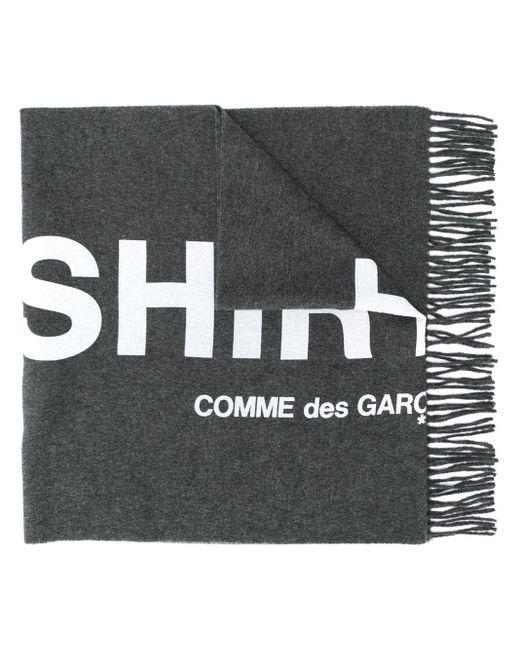 メンズ Comme des Garçons ロゴ フリンジ スカーフ Gray