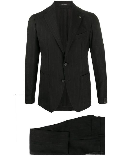 メンズ Tagliatore ストライプ テーラードジャケット Black