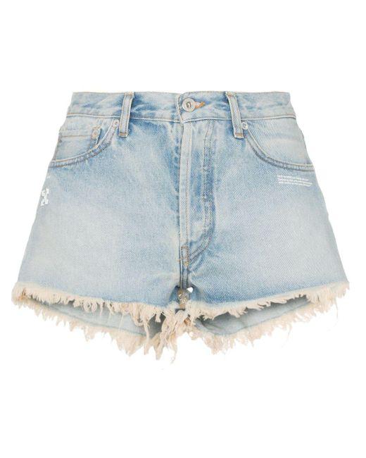 Off-White c/o Virgil Abloh Blue Raw Hem Front Logo Denim Shorts