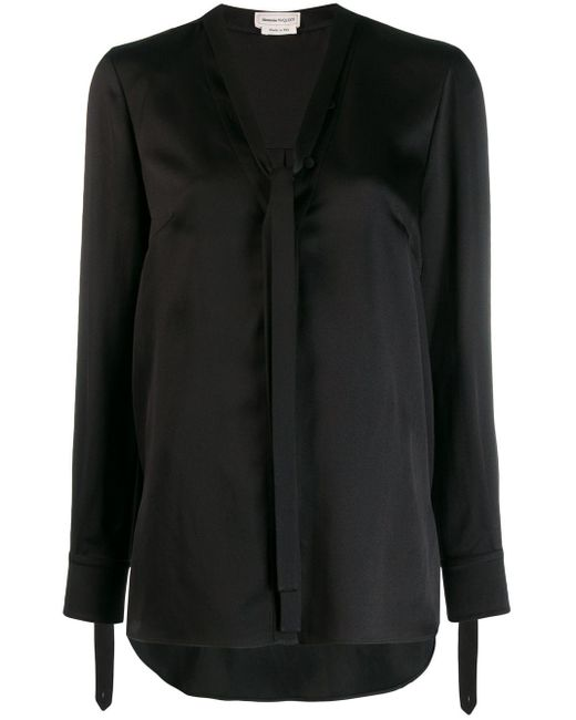 Alexander McQueen Black Pussybow Blouse