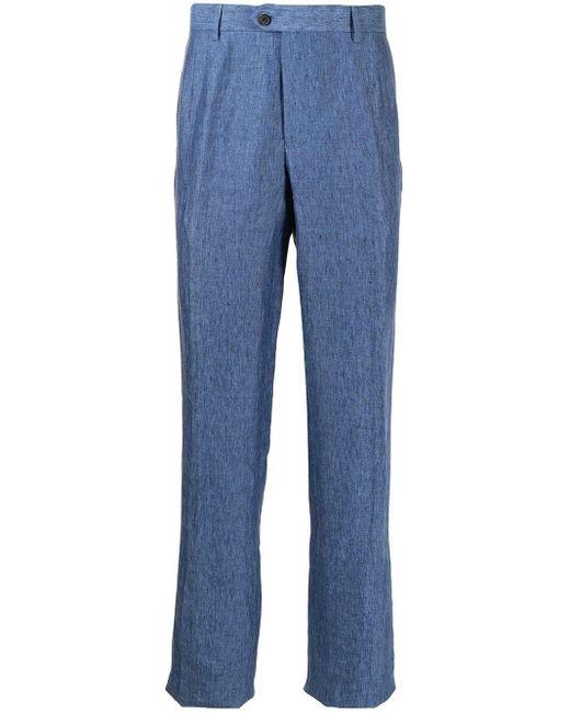 Pantalon droit en lin Gieves & Hawkes pour homme en coloris Blue