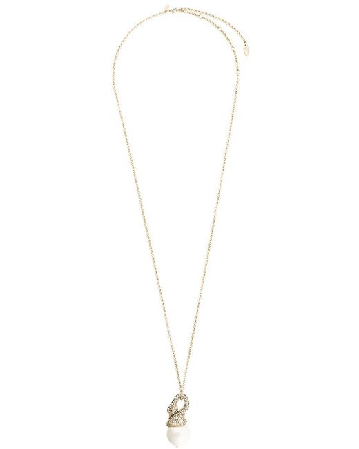 Lanvin | Metallic Long Embellished Swan Necklace | Lyst