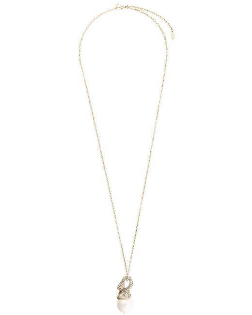 Lanvin   Metallic Long Embellished Swan Necklace   Lyst