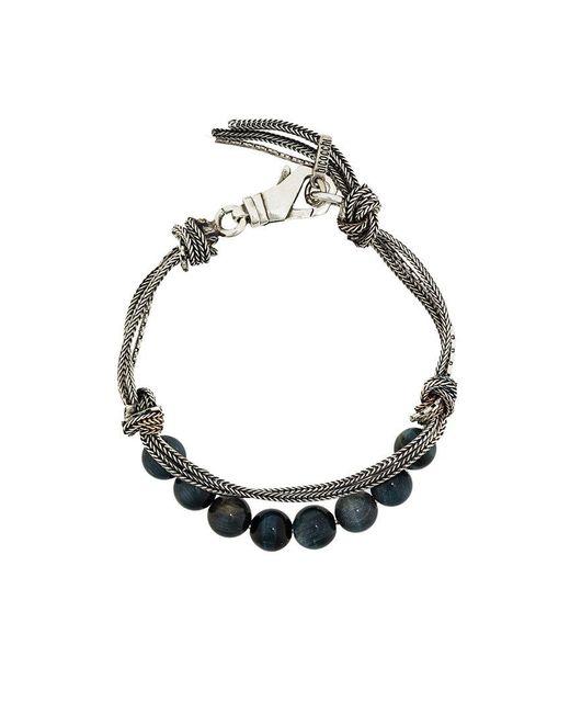 Emanuele Bicocchi - Metallic Beaded And Woven Bracelet for Men - Lyst