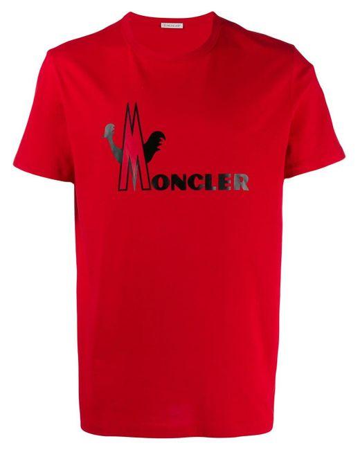 メンズ Moncler ロゴ Tシャツ Red