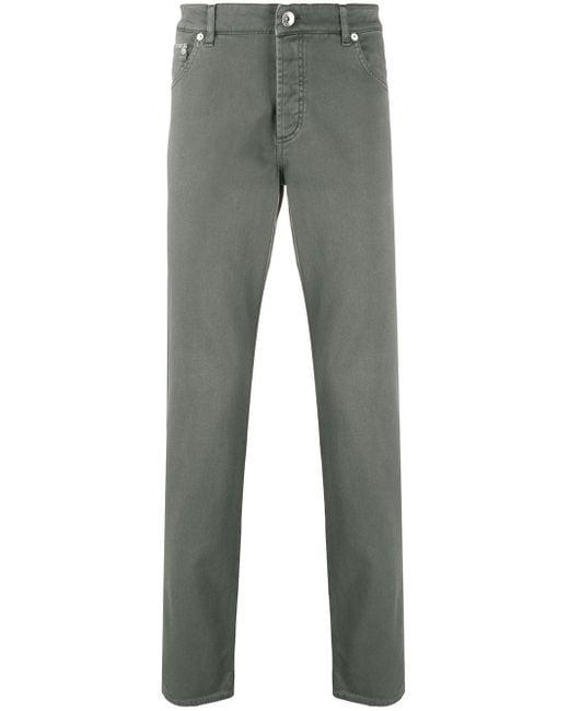 メンズ Brunello Cucinelli ローライズ ストレートパンツ Gray