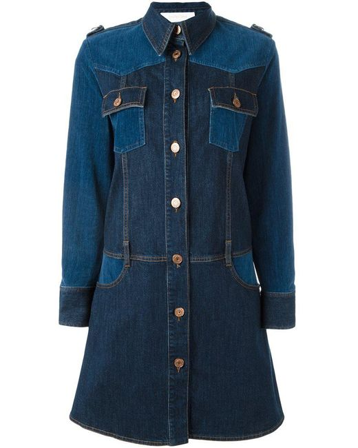 See By Chloé | Blue Paneled Denim Dress | Lyst