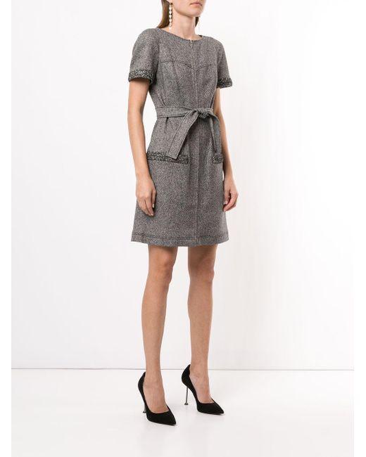 Paule Ka ベルテッド ツイードドレス Gray