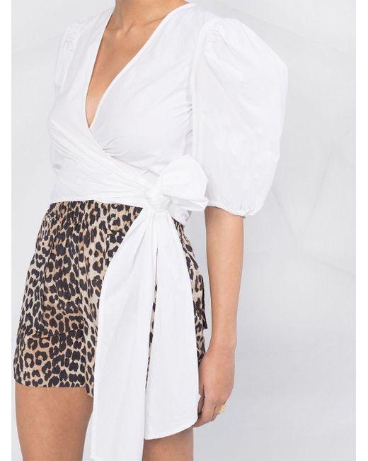 Блузка С Пышными Рукавами И Запахом Ganni, цвет: White