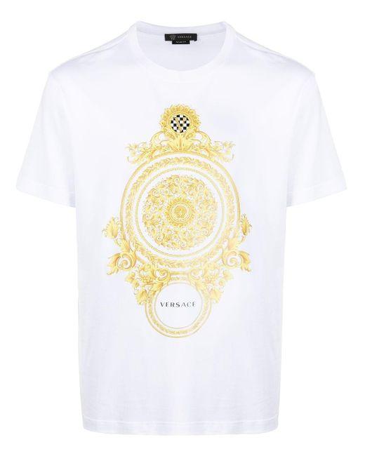 メンズ Versace バロックプリント Tシャツ White