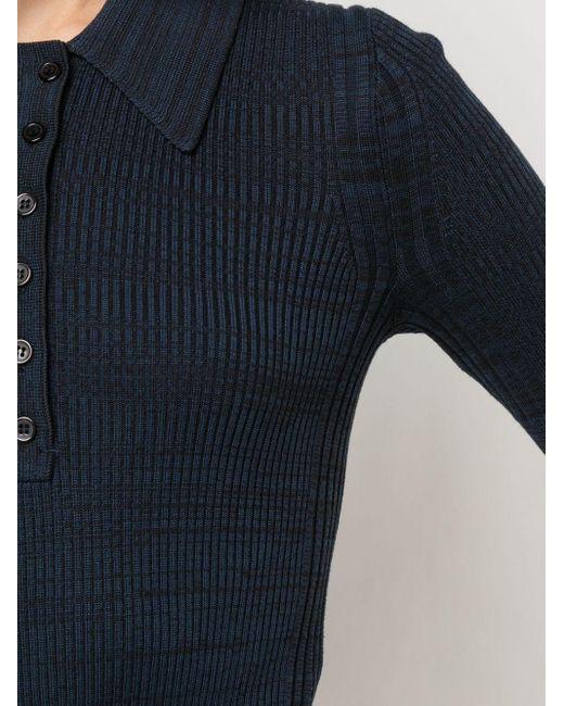 Трикотажная Меланжевая Рубашка-поло PROENZA SCHOULER WHITE LABEL, цвет: Blue