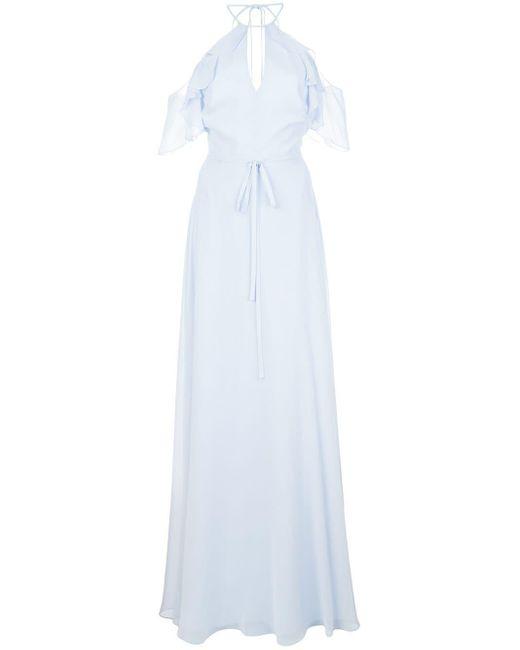 Marchesa notte Vestido largo con hombros descubiertos de mujer de color azul