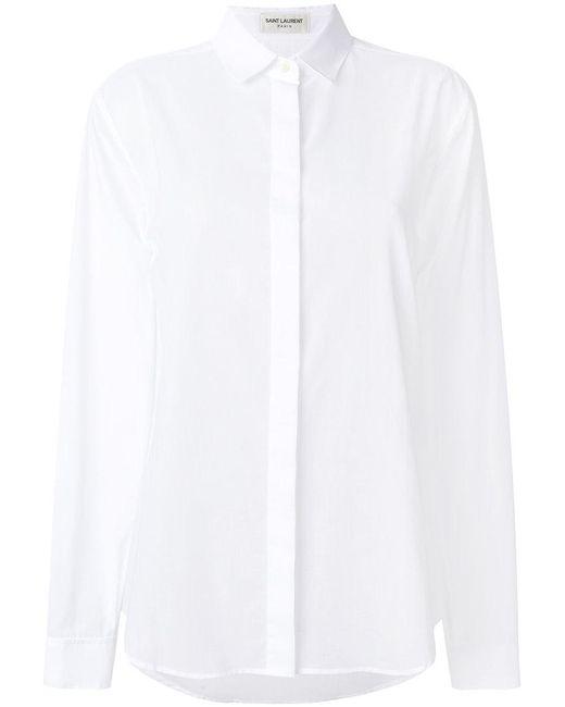 Saint Laurent | White Camicia 'paris' | Lyst
