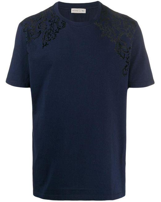 メンズ Etro フローラル Tシャツ Blue
