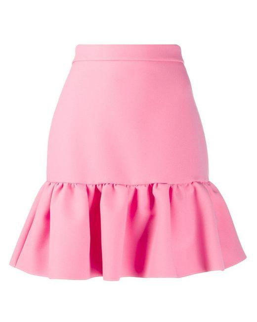 Юбка Мини С Завышенной Талией И Баской MSGM, цвет: Pink