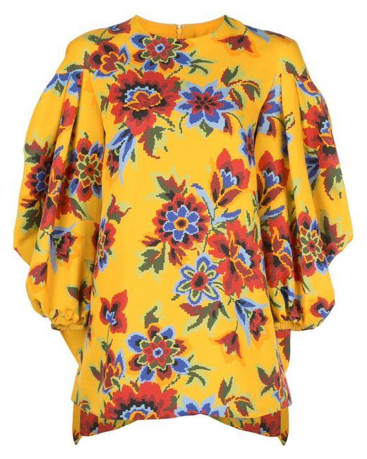 Carolina Herrera フローラル ベルテッド ドレス Yellow