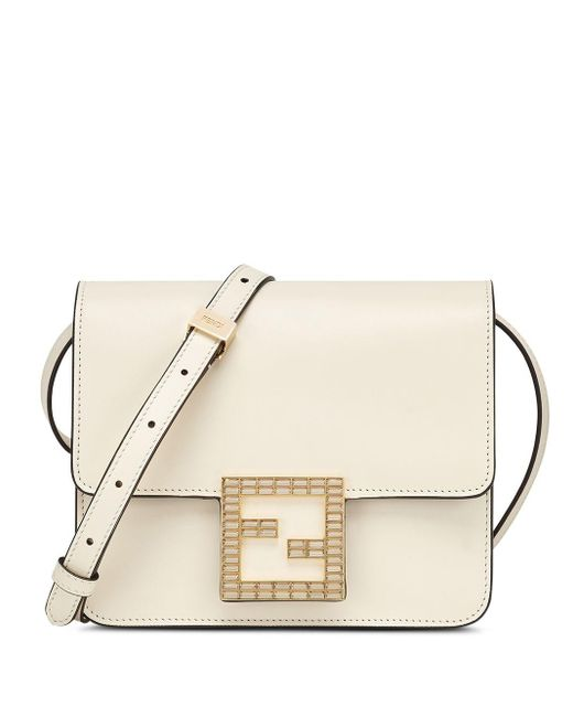Fendi White Fab Leather Crossbody Bag