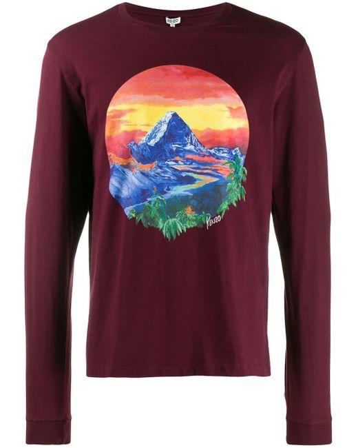 メンズ KENZO ランドスケープ ロングtシャツ Multicolor