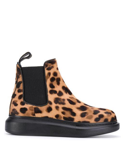 Ботинки Челси С Леопардовым Принтом Alexander McQueen, цвет: Brown