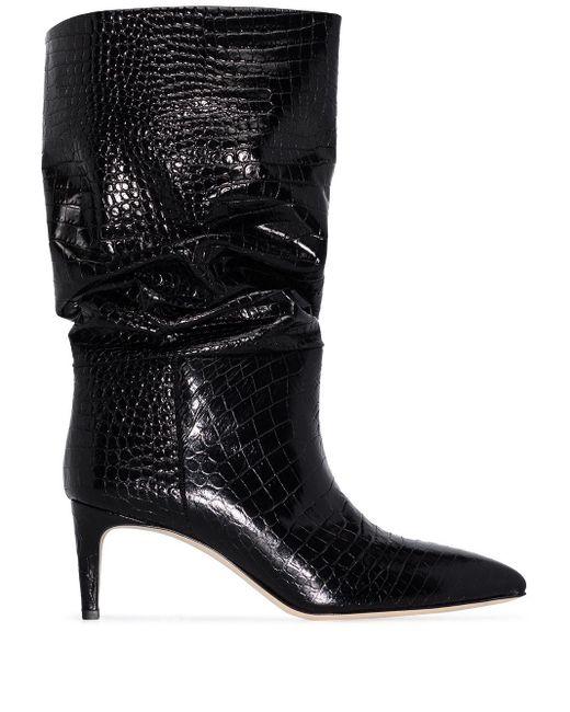 Paris Texas クロコパターン レザーブーツ Black