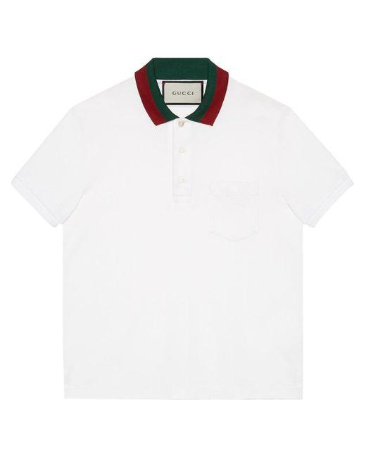 メンズ Gucci ウェブカラー ポロシャツ White