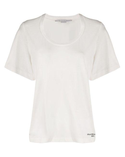 Stella McCartney Camiseta con cuello redondo de mujer de color blanco 2OgK1