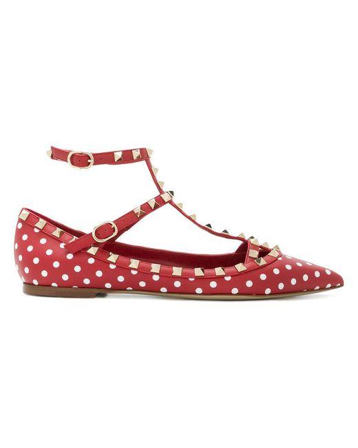 Valentino - Red Garavani Polka-dot Rockstud Ballerinas - Lyst