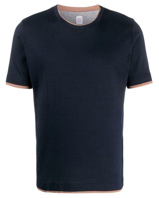 メンズ Eleventy レイヤード Tシャツ Blue