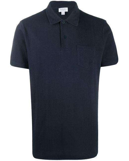 メンズ Sunspel Riviera ポロシャツ Blue