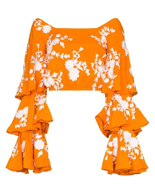 All Things Mochi Giannah フローラル ラッフルブラウス Orange