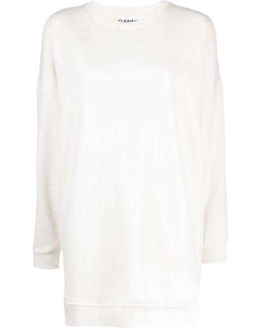 Ganni ロゴ スウェットシャツ White