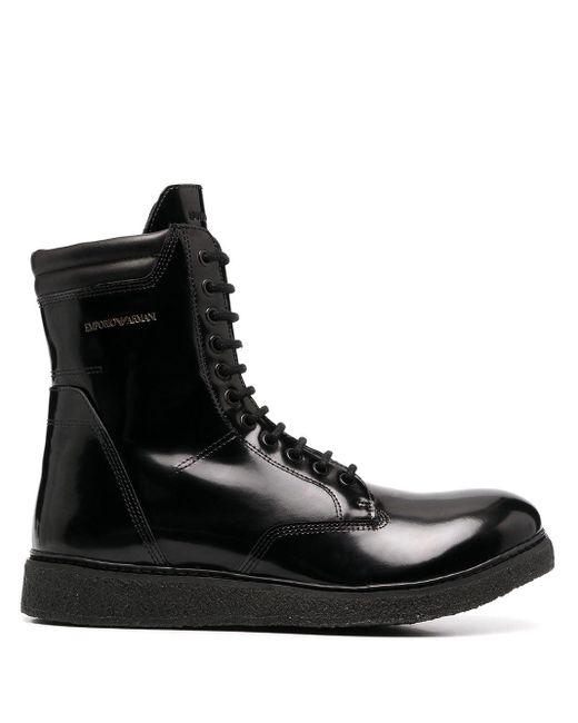 メンズ Emporio Armani コンバットブーツ Black