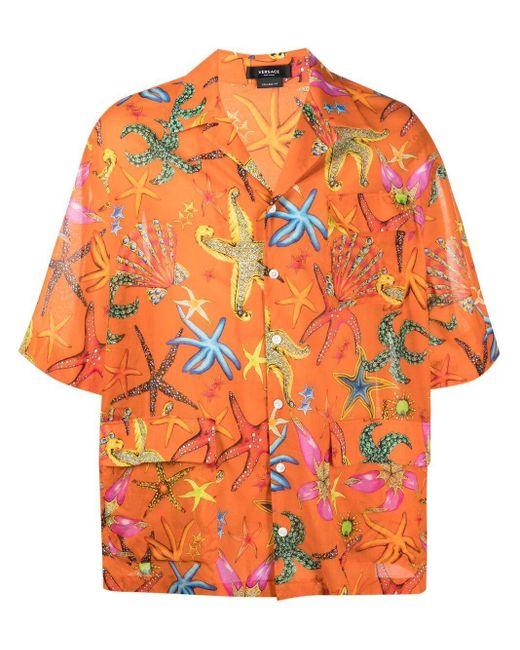 Versace Hemd mit Trésor de la Mer-Print in Orange für Herren